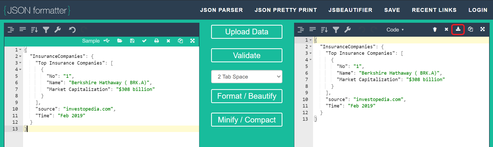 Jsonformatter.org helps to create , validate and format the JSON Data